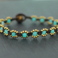 Mini Blue Daisy Weaving Bracelet