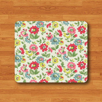 Rose Vintage Pattern Flower Floral Mouse Pad Beautiful Painted MousePad Computer Desk Deco Work Pad Mat Rectangle Personal Christmas Gift