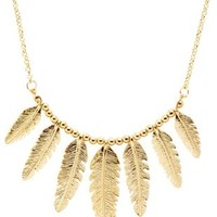 Golden Feather Collar Necklace by Charlotte Russe - Gold