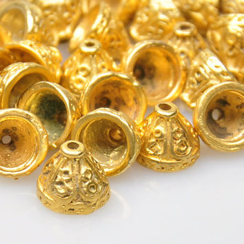 4 Pieces Matte Gold End Bead Caps, Gold Jewelry Spacer Beads, Jewelry Findings, Boho Jewelry Findings, Cord End Caps