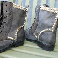 Vintage Studded Combat Boots