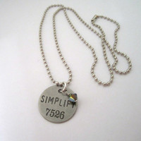 Metal PHILOSPHY TAG - Stamped Tag Necklace - &amp;quot;SIMPLIFY&amp;quot; by 636designs