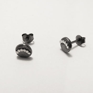 Tiny Silver Stud Oxidized Earrings - Trendy Post Earrings - Handmade jewelry