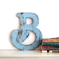 Uppercase Letter B (Pictured in Soft Blue) Pine Wood Sign Wall Decor Rustic Americana French Country Chic