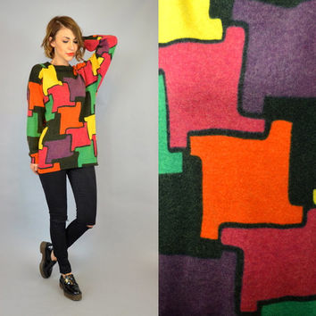 PIERRE CARDIN bright multicolored vintage 1980s jigsaw PUZZLE sweater jumper, extra small-large