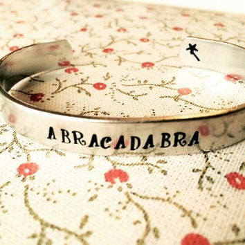 abracadabra magic protection aluminum bracelet  wand hand stamped on the inside