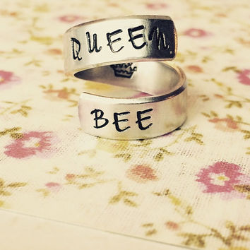 queen bee crown spiral hand stamped ring