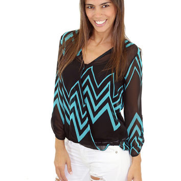 Black And Teal Sheer Chevron Top