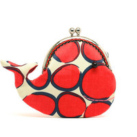 Cute rosy red whale clutch purse