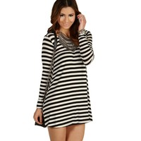Black Can't Get Enough Striped Tunic