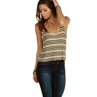 Taupe All Stripes Sweater Tank