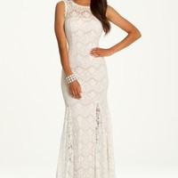 Two Tone Lace Dress with Godets