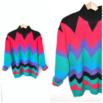 OP ART turtle neck sweater vintage 80s CHEVRON zig zag colourful oversized jumper os