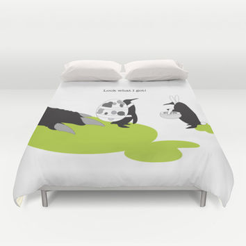 Cute Penguins Easter Egg Hunting Event Funny Duvet Covers