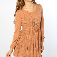 The Selek Kohala Bamboo Mini Dress in Rustic Brown Multi