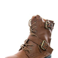 Bamboo Battle01 Chestnut Flat Combat Laced Ankle Boots shop Boots at MakeMeChic.com