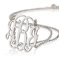 "Monogram Necklace 1.25""- Personalized Monogram - 925 Sterling silver"