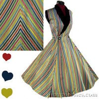 Vintage 50s Candy Stripe Pinup Full Circle Skirt Swing Party Dress XS