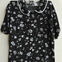 Peter Pan Collar Top Floral Print Black Size Small-Medium