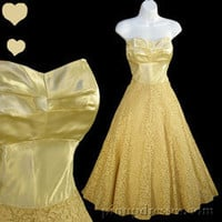 Vintage 40s 50s Buttery Cream Strapless Full Skirt Prom Party Dress XXS