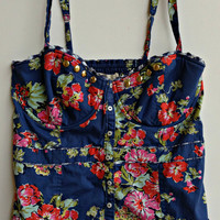 Upcycled Corset Bustier Top Floral Pattern Gold Studs Navy Size Medium/Large