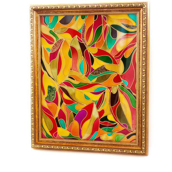 Abstract  painting leaves. Wall art. Home decor. Stained glass.