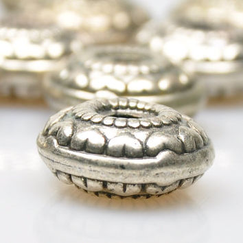 2 Pieces Matte Silver Ball Spacer Beads, Silver Plated Jewelry Spacers, Jewelry Findings, Jewelry Making Supply