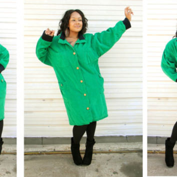 New York City Winter - Vintage 80s 90s Emerald Kelly Green Corduroy PUFFER Winter Coat Jacket - L XL - EXTREME Eighties Style