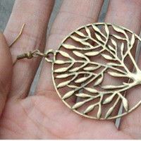 tree earrings-antique brass