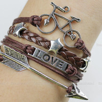 Bracelet - silver LOVE bracelet, arrow bracelet, silver bicycle bracelet, wax attachment bracelet leather bracelet, brown leisure bracelet