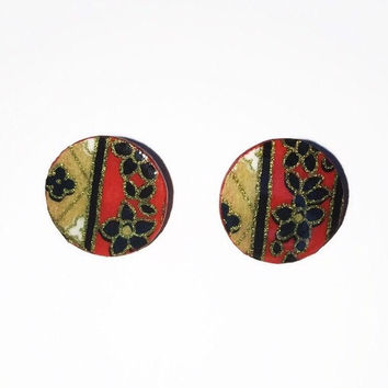 Wooden Floral Chiyogami Earrings