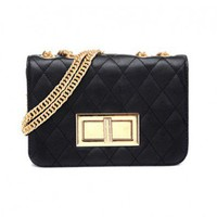 Quilted Structured Bag with Chain Strap and Golden Hardware