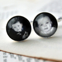 Custom Silver Photo Cufflinks  Personalized with by jerseymaids $35.00