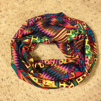 Women's multi-color tribal print/aztec infinity scarf from Nicole Ray
