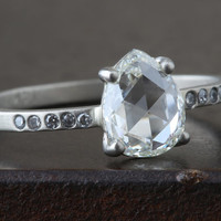 Natural Clear Rose Cut Diamond Ring with Pave Band