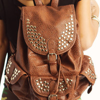 studded-leather-buckle-backpack BLACK BROWN NAVY TAUPE - GoJane.com