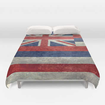The State flag of Hawaii - Vintage version Duvet Cover by Bruce Stanfield
