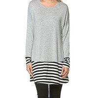 Chalmons Heather Gray Stripe-Accent Tunic | zulily