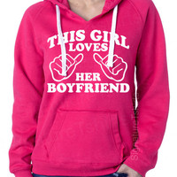 This Girl Loves Her Boyfriend Ladies Brushed V-Neck Hooded Sweatshirt Hoodie SuperSoft S,M,L,XL,2XL