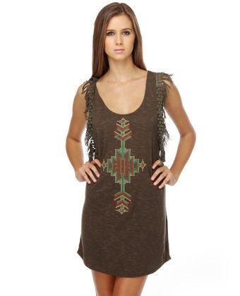 Shot Through the Heart Fringe Tank Dress