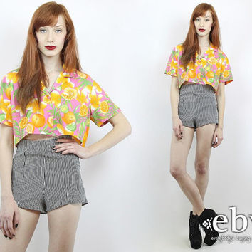 Vintage 90s CITRUS Fruit Floral Crop Top S M L Cropped Top Cropped Blouse Crop Blouse Midriff Top Cropped Shirt Novelty Print Summer Top