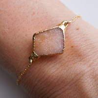 Druzy Bracelet in Light Peach