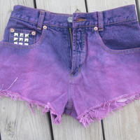 OMBRE PINK PURPLE high wiast shorts