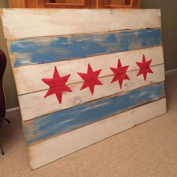Chicago Flag Wooden Art Painting