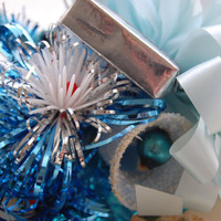 Vintage Blue Christmas Corsage Silver Bells by CatlinCoxDesigns