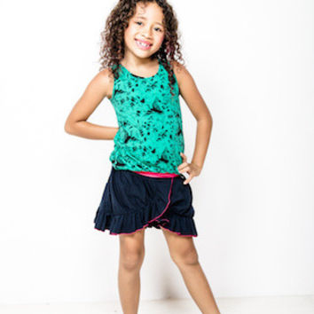 Soft cotton jersey sleeveless girls top with elastic hem in mint green with black cranes print