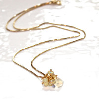 "Ethiopian Opal Cluster Pendant Trillion Gold Vermeil Box Chain Necklace October Birthstone 18"" Fizz Candy"