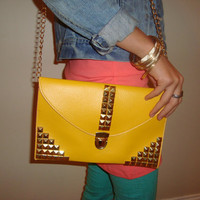 Yellow studded purse