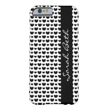 Cute B&W, Black Hearts on White personalize w name