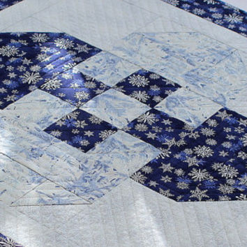 Quilted Blue Table Topper - Snowflakes Table Topper - Winter Table Topper - Christmas Table Decor - Handmade Quilt